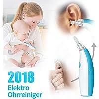 Ohrenschmalz Entferner,HAIGE Portable Elektrische Ohrreiniger,Ear Wax Cleaner Kit,Ohrwachs Entfernungs tool kit mit 3 Soft Silicone Kopfs&1 Massagekopf, LED-Licht, für Babys und Erwachsene