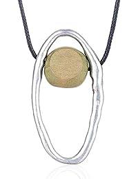 11c11c329268 YANGDJ Collar Joyas De Mujer Collar Largo Collar De Perlas De Madera Collar  Y Colgante Hechos