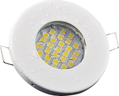 Bagno faretto da incasso IP65| colore acciaio inox spazzolato | 12Volt GU5.3MR16AC/DC 5Watt LED bianco caldo 2700Kelvin 450lumen | portalampada con cavo di collegamento incluso