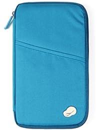 SAVFY® Reiseorganizer Reisedokumententasche Reisebrieftasche mit Reißverschluss, für Münzen, Stift, Kreditkarten, Flugkarten, Passport
