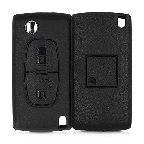 kwmobile Gehäuse für Peugeot Citroen Autoschlüssel - ohne Transponder Batterien Elektronik - Auto Schlüsselgehäuse für Peugeot Citroen 2-Tasten Klapp Autoschlüssel - Schwarz