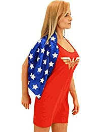 DC Comics Wonder Woman Red & Blue Costume Tank Dress with Attachable Cape (Wonder Woman) (Juniors Medium)