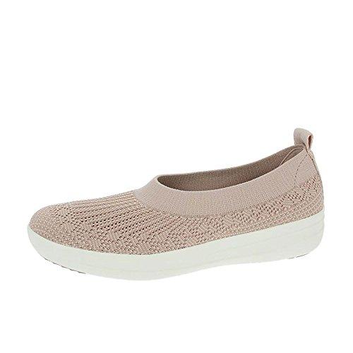 fitflop-uberknit-ballerina-slip-on-scarpe-neon-arrossire-bianco-uk3-rossore-al-neon-bianco