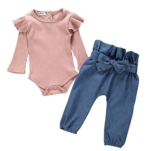 LEXUPE Neugeborene Kinder Baby Mädchen Outfits Kleidung Strampler Bodysuit + Streifen Lange Hosen Set(Rosa-B,70)
