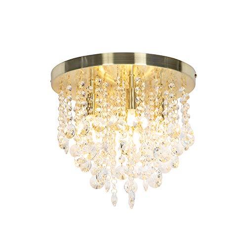 QAZQA Art Deco/Klassisch/Antik Art Deco Deckenleuchte/Deckenlampe/Lampe/Leuchte Messing mit Glasperlen - Medusa/Innenbeleuchtung/Wohnzimmerlampe/Schlafzimmer/Küche/Stahl Rund LED ge