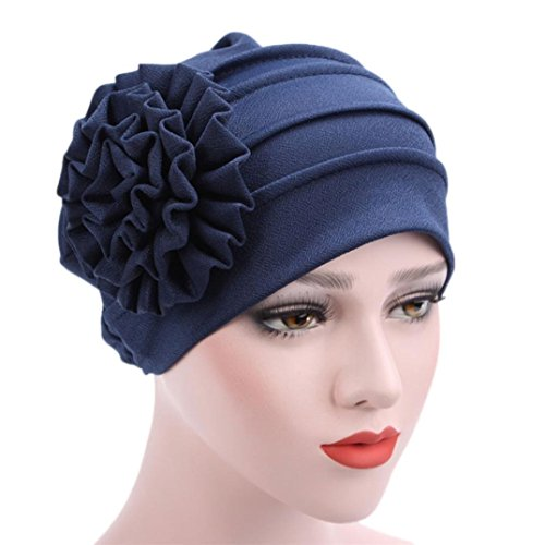 SHOBDW Womens Hats, Women Muslim Stretch Turban Hat Chemo Flower Hair Loss Head Scarf Wrap Hijib Cap