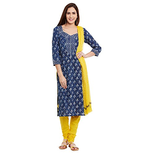 Dress Material by Pinkshink | Blue Cotton Salwar Kameez Suit Dress Material...