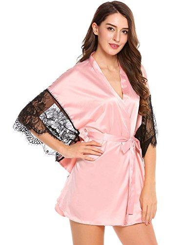 Ekouaer Morgenmantel Damen Satin Kimono sexy kurz edel saunamantel 6111_Rosa