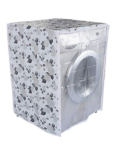 Classic Front Load Washing Machine Cover for LG 5.5 Kg & 6Kg (50Cmsx63Cmsx81Cms_Half White,Grey) Pack of : 1 Washing Machin Cover