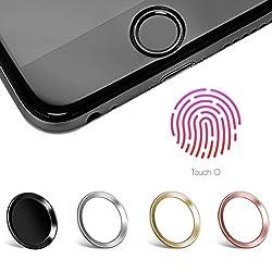 moodie Touch ID Sticker in Schwarz mit Fingerabdruckfunktion für iPhone 6 / 6S / 7 Home Button Aufkleber - passende Ergänzung zu Panzerglas (bildet EIN Höhenlevel)