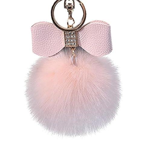 Hairy Boule Porte-clés, Pak _ Youth en peluche Porte-clés Sac de voiture Charm pendentif Cadeau, rose, 255x190x25mm