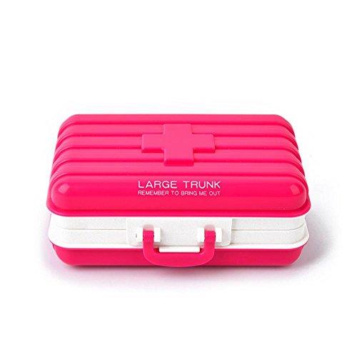 Aolvo abschließbar Pillen-Organizer, 6Fächer-Pillendose mit Tasche oder Geldbörse, BPA frei tragbare lebensmittelechtem Kunststoff. Anti-Tasche rosarot