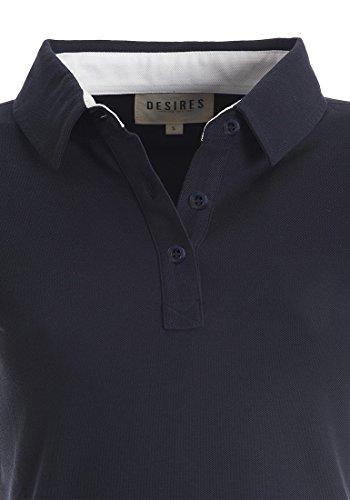 DESIRES Lillian Damen Polo-Shirt Shirt Polo-Kragen aus 100% Baumwolle Insignia Blue (1991)