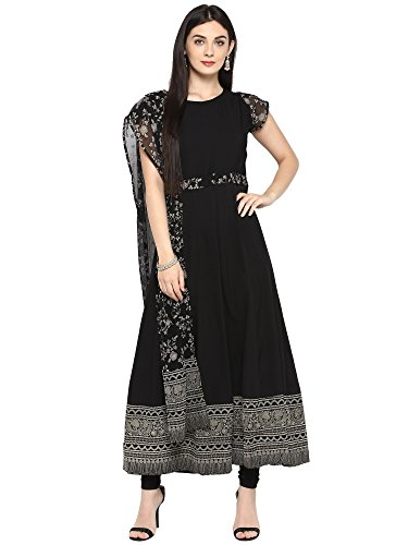 Black Crepe Kalidar Kurta with attached Printed Georgette Dupatta Size - XL