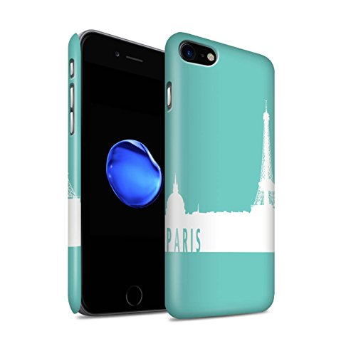 STUFF4 Matte Snap-On Hülle / Case für Apple iPhone 8 / Paris/Türkis Muster / Stadt Skyline Kollektion Paris/Türkis