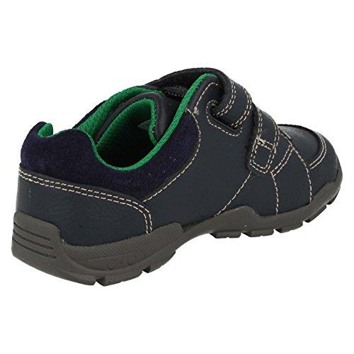 Clarks Flash Pop garçons premières chaussures marine ou brun Navy Combi