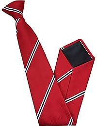 Herren Clip auf Krawatte - Rot mit Weiß & Schwarz Streifen