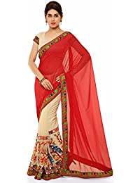 Riva Enterprise Women's Beige And Red Color Pallu Half And Half Georgette Embroidred Work Saree (Riva_36)