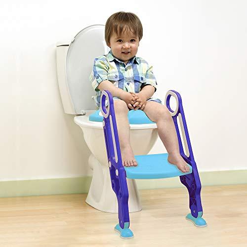 Yoleo Töpfchen-Trainer Toilettensitz Kinder mit Treppe, Weiche Matte, Spritzschutz Zusammenklappbar, für 99{d7dc654f0a0152fc75f3f0b6f792c5e5c854cdb5f6978bab935b84a46a66f839} Toiletten (Blau-Lila)