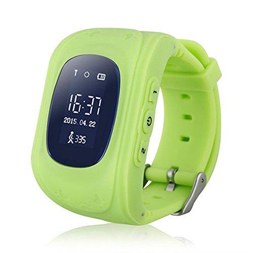 Witmoving Bambini Smartwatch GPS Tracker Orologio Telefono sim antifurto SOS braccialetto Parent controllo da iPhone IOS Android Smartphone (Verde)