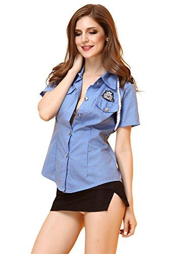 FLH Polizei Uniformen Halloween Versuchung Set Cosplay Kostüme Spiel Uniformen Erogenous ( Farbe : Blau , größe : M (Halloween Polizei Uniform)