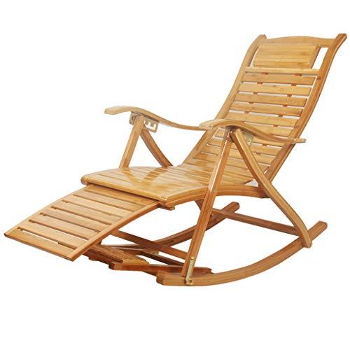 Chaise longue de jardin inclinable Chaise à bascule en bambou avec accoudoirs Dossier Chaise Chambre à coucher Salon Jardin Extérieur Inclinable Pliable (Couleur : A)