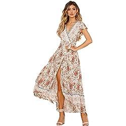 Mujeres Sexy Cuello En V Vestidos Bohemio Wrap Floral Impreso Vintage Estilo étnico de Alta Split Beach Maxi Vestido Beige L