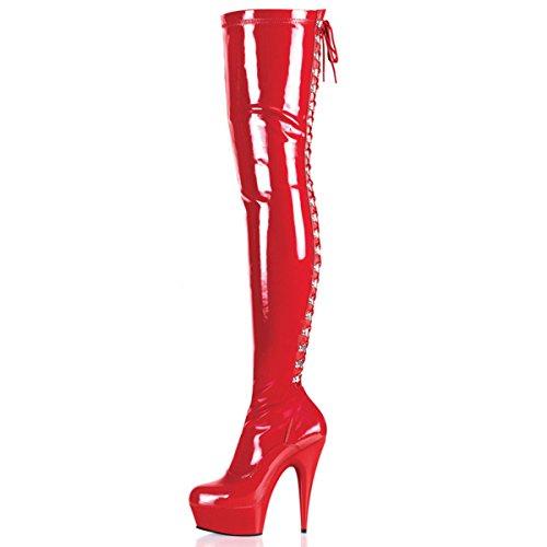 Higher-Heels PleaserUSA Overknee-Stiefel Delight-3063 Lack rot/rot Gr. 40