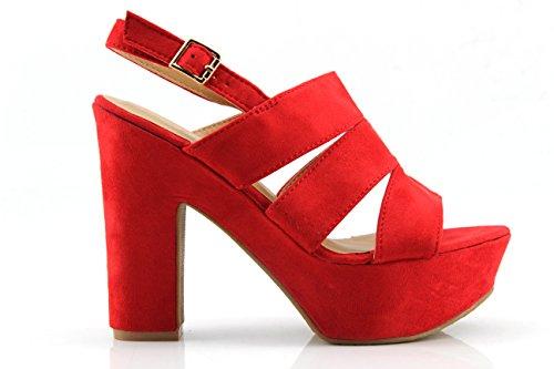 Modelisa - Zapatos De Tacon Ancho Mujer (40, Rojo)