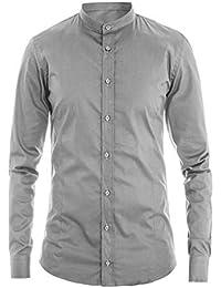 Camicia Uomo Collo Coreano Fantasia Mimetica Militare Grigio Bianco Casual GIOSAL