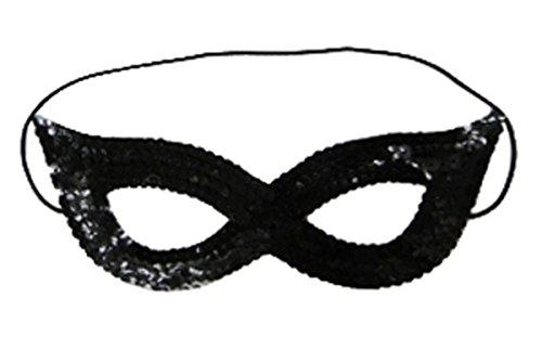 Damen Masquerade Pailletten-Gangster Hat & Face Maske Mädchen Sparkly Fancy Kleid