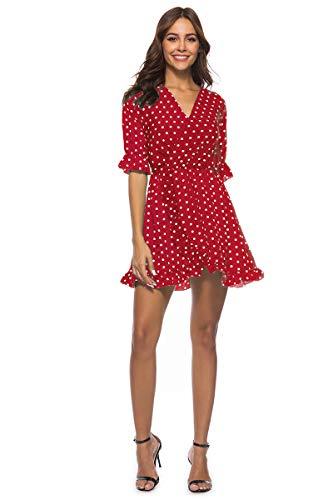 De Mujer con Cuello en V Profunda con Volantes Lunares Imprimir 1/2 Media Manga de Abrigo con Bolsillos Mini Vestido Corto(S-Rojo)