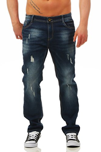 Fashion4Young Herren Jeans Jeanshose Regular Fit Denim Stretch Used Look Destroyed 5-Pocket (5918-blau, W38/L32) (Baumwolle-5-pocket-jean)