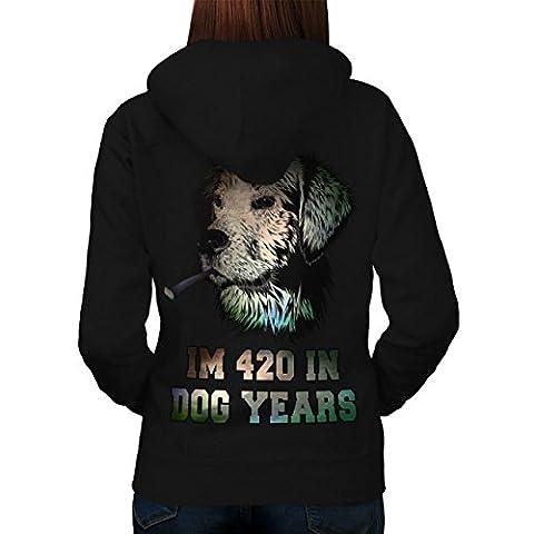 420 Dog Years Weed Rasta Women L Hoodie Back | Wellcoda