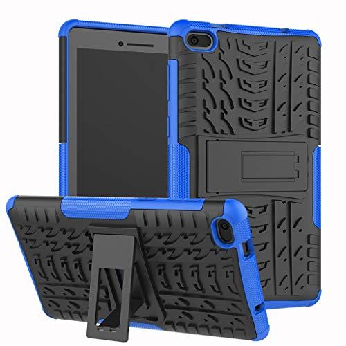 Für Lenovo Tab E7 Hülle, Colorful [Heavy Duty] Rugged Armor stoßfest Handy Schutzhülle Silikon Tasche Ständer Hülle Case mit Standfunktion für Lenovo Tab E7 (Blau)