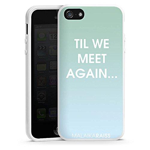 Apple iPhone 5s Housse Étui Protection Coque Phrase Dégradé de couleur Menthe Housse en silicone blanc