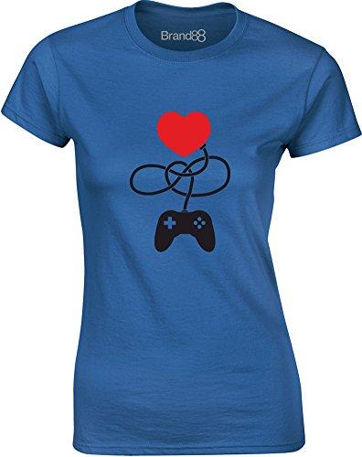 Brand88 - Control My Heart, Gedruckt Frauen T-Shirt Königsblau/Schwarz
