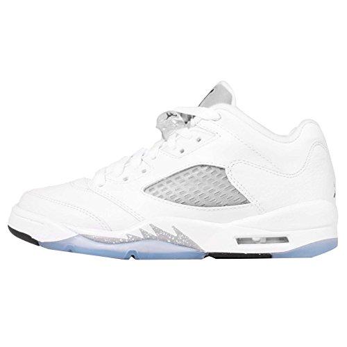 Nike Mädchen Air Jordan 5 Retro Low GG Laufschuhe, (Weiß/Schwarz-Wolf Grau), 35 1/2 EU