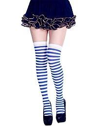 fe53305f881 Dabixx Chaussettes Longues à Rayures pour Femmes Couleur de Contraste  Cuisse Bas Bas Cosplay Halloween Royal