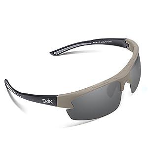 Ewin E52 Gafas de Sol de Deporte Polarizadas, TR62 Marco Irrompible, UV400 Protección, Gafas por Hombres y Mujeres, Golf, Ciclismo, Conducir, Pesca, Correr y Otras Actividades al Aire Libre (Gris y Negra)