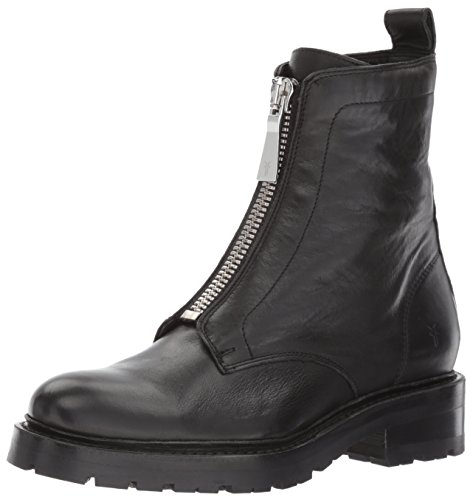 FRYE Women's Julie Front Zip Combat Boot, Black Polished Soft Full Grain, 8 M US