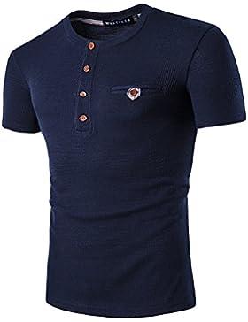 YCHENG Camisetas para Hombre Manga Cortas con Botón Casual Formal Waffle Henley Shirt