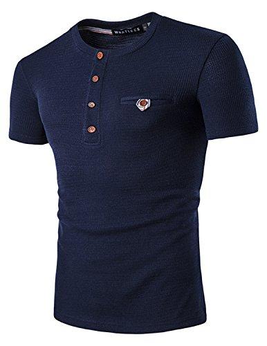 YCHENG Herren Basic Henley T-Shirts Kurzarm mit Knopfleiste Blau