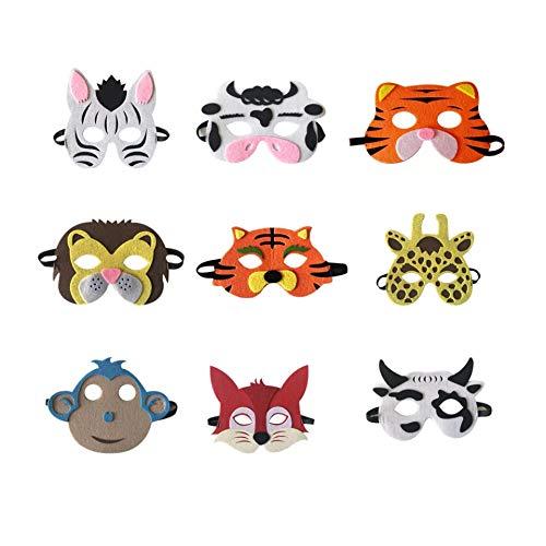 thematys Máscaras Infantiles Animal 9er Set cumpleaños y Carnaval - Disfraces para niños - una Talla para Todos - Material de Espuma Blanda EVA