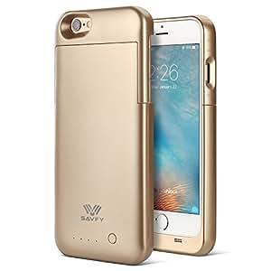 SAVFY iPhone 6S Akku Hülle [Apple MFi Zertifiziert] 3200mAh iPhone 6 6S Externe Batterie Backup Case 4,7 Zoll Gold