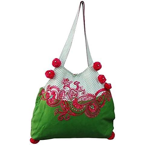 bolso hecho a mano de algodón indio decorativo material de lona grande del bolso de compras bolso de moda decorativa bolso boho gitana verde