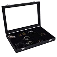Autoark Velvet Clear Lid Jewelry Tray Showcase Display Organizer