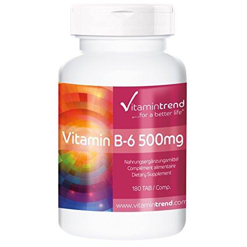 Vitamine B6 500mg 180 comprimés Pyridoxine haute dose, flacon avantageux pour 6 mois, substance pure, végétarien