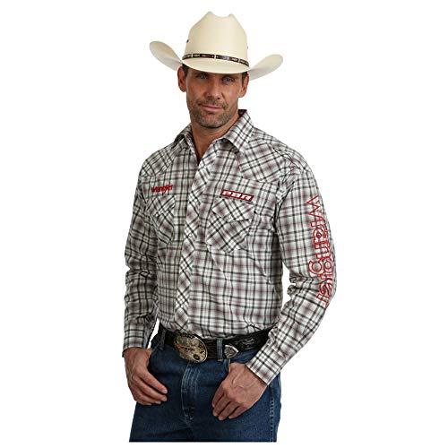 Wrangler Men's Long Sleeve PBR Logo Western Snap Shirt -