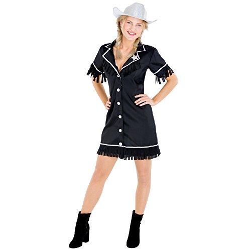 Frauenkostüm Cowgirl | Kleid + Gürtel & Sheriffstern | Sheriff Cowboy Verkleidung (M | Nr. 300642)